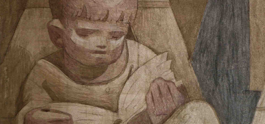 Institutum Liturgicum - mosaic detail of boy reading from St Benedict's Abbey, Atchison, Kansas