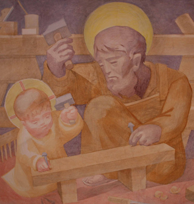 Fresco of Joseph teaching carpentry to the child Jesus
