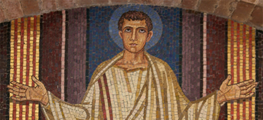 St Benedict praying - dressed as a student in Rome - mosaic from Sant'Anselmo, Rome