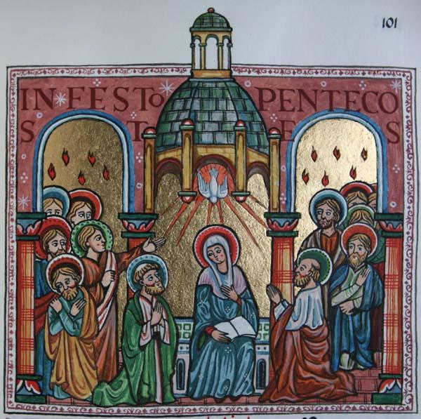 Pentecost Sunday in an illuminated manuscript of Farnborough Abbey