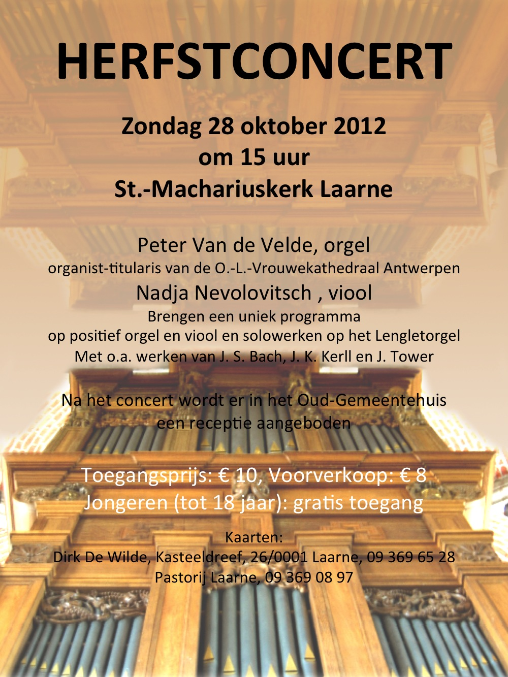 poster announcing the benefit concert in Laarne, Belgium