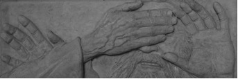 Bass relief of the man born blind, Corpus Christi Parish, Lawrence, Kansas: Transition in the Easter Vigil