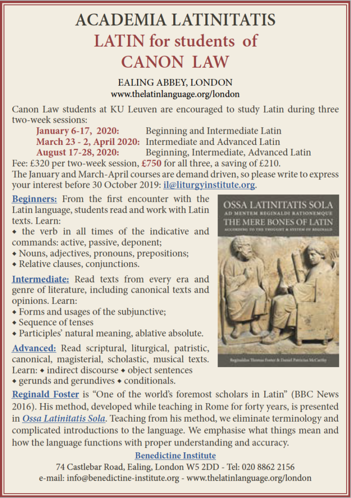 2020 Latin for Canon Law
