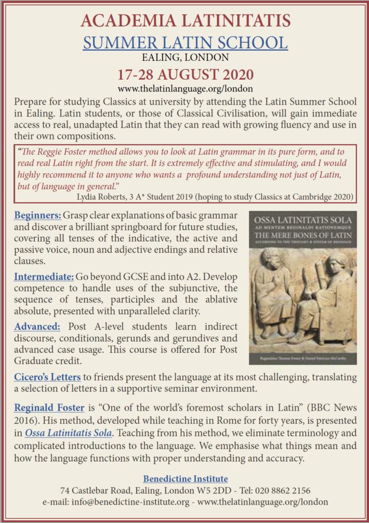 2020 Summer Latin School flyer